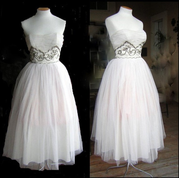 Vintage 50s Strapless White Tulle Party Dress - Silver  Lucky Shamrocks - Small