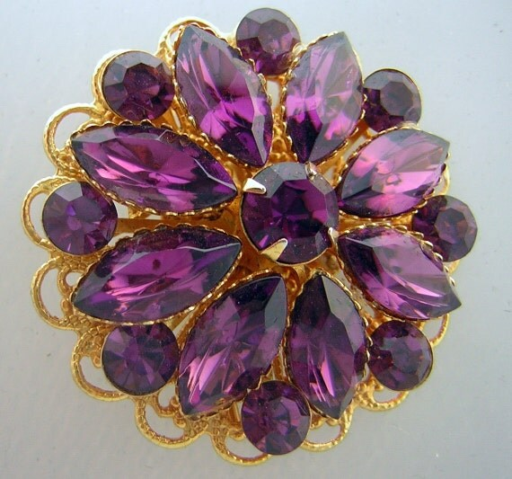 Vintage 60s Brooch Pin - Large Rich Purple Rhinestone - Round & Marquis Dazzlers