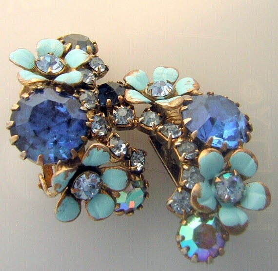 RESERVED for Maggie Shuck - Vintage WEISS Baby Blue Forget Me Not & Rhinestone Earrings