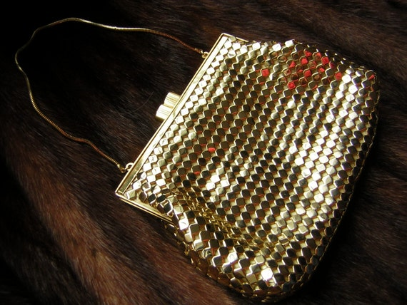 Vintage Purse Gold Metal Mesh Cocktail Handbag - Shimmery with Smooth Snake Chain Handle