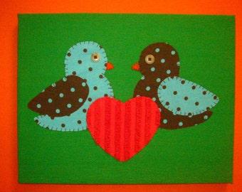 Original Handsewn Fabric Wall Art - LOVEBIRDS