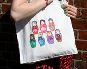 SALE: Cotton tote bag colourful stacking dolls printed design