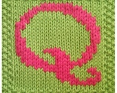 PDF Knitting pattern capital letter Q afghan / blanket square -now with Etsy instant download