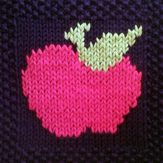 Knitted Apple Pattern : PDF Knitting Pattern Apple motif afghan / blanket by FionaKelly