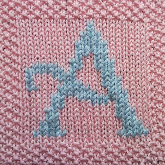 Knitted Dishcloth Pattern With Letters : PDF Knitting pattern capital letter A afghan / by FionaKelly