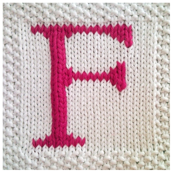 Knitting Pattern Alphabet Blanket : PDF Knitting pattern capital letter F afghan / by FionaKelly