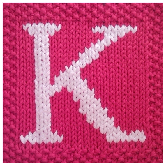 Knitting Pattern Block Letters : PDF Knitting pattern capital letter K afghan / by FionaKelly