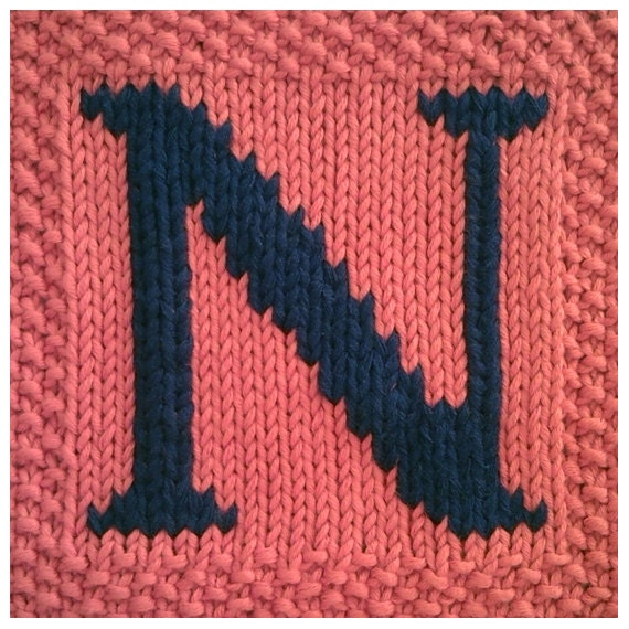 Knitting Pattern Block Letters : PDF Knitting pattern capital letter N afghan / by FionaKelly