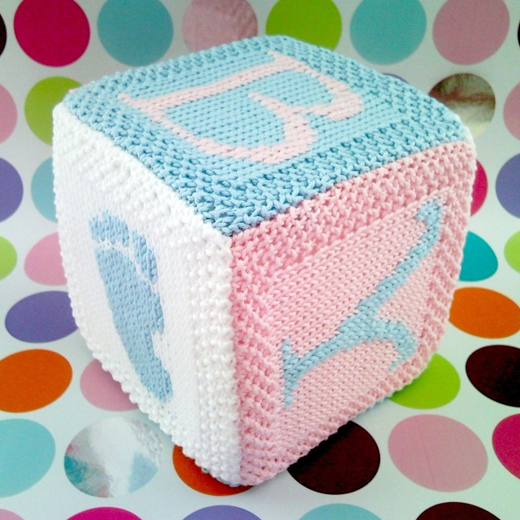 Knitting Pattern Baby Toy : PDF Knitting pattern Baby cube toy with hand and by FionaKelly