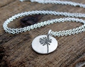 Tiny dandelion wish necklace in silver
