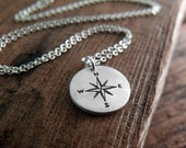 Tiny compass rose pendant - compass necklace in silver