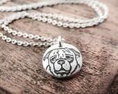 Tiny Pug necklace, silver pug jewelry