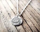 Tiny Sea Turtle necklace, silver eco friendly sea turtle jewelry