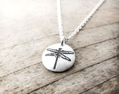 Tiny dragonfly necklace, silver dragonfly jewelry, dragonfly pendant