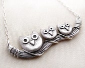 Owl necklace, sterling silver owl jewelry, mother's day jewelry, Owl family necklace