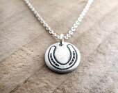 Tiny horseshoe necklace, lucky charm silver