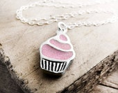 Cupcake necklace - silver and concrete - Made to order