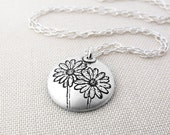 Little daisies necklace, silver daisy necklace, daisy jewelry