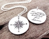Compass rose necklace and Whitman quote, Inspirational jewelry, Graduation necklace, Voyager