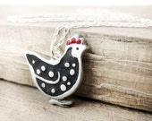 Chicken necklace, silver and concrete, Hen necklace, Chicken jewelry