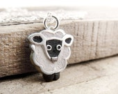 Little sheep necklace - concrete and silver  - Made to order