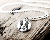 Tiny Boston Terrier necklace, silver dog jewelry, dog lovers, boston terrier jewelry