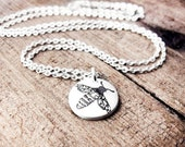 Tiny honey bee necklace, silver bee necklace, bee jewelry
