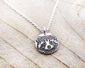 Tiny Raccoon necklace, silver Raccoon jewelry