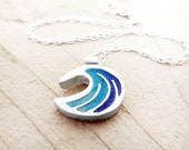 Tiny ocean wave necklace, silver concrete jewelry, ocean necklace, nautical jewelry