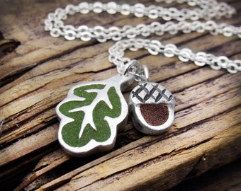 Oak leaf and acorn necklace concrete and silver, oak leaf necklace, autumn necklace, fall jewelry, girlfriend gift for her concrete jewelry