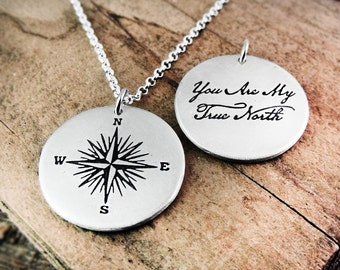 Silver compass necklace, You are my truth north, Valentine's gift, wife gift, girlfriend gift, husband, gift for him