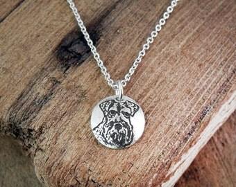Tiny Schnauzer necklace, silver dog necklace, Schnauzer jewelry
