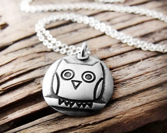Silver owl necklace number 2