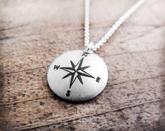 Compass necklace, silver handmade Compass rose necklace, compass jewerly, graduation necklace, nautical jewelry