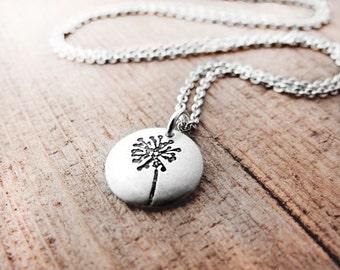 Tiny dandelion pendant necklace eco friendly silver dandelion jewelry wish recycled