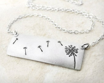 Dandelion necklace, make a wish necklace in silver, dandelion jewelry