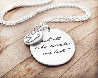 Not all who wander are lost necklace 2, Inspirational quote necklace silver, inspirational jewelry