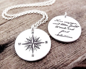Compass rose necklace, travel necklace, Inspirational jewelry, Graduation necklace, Voyager, gift for him, mans necklace, boyfriend gift
