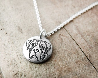 Tiny Boxer necklace, silver dog jewelry, dog lover