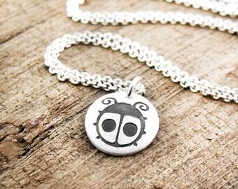 Tiny ladybug necklace in silver, ladybug pendant