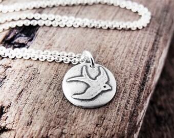 Tiny barn swallow bird necklace