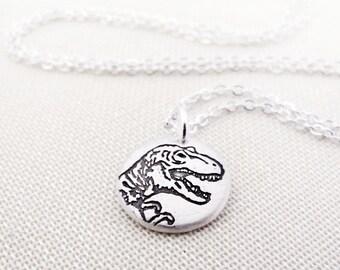 Tiny T Rex necklace, silver dinosaur necklace, Tyrannosaurus Rex jewelry