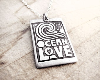 Ocean love necklace, silver