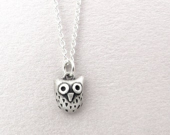 Owl necklace, very tiny silver owl jewelry, owl pendant, cute owl, gift for her, daughter gift, coworker gift, gift for mom, gift for wife
