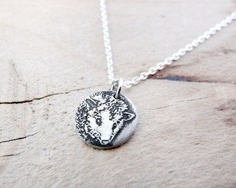 Tiny Opossum necklace, silver Opossum jewelry