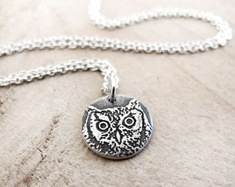Tiny Great Horned Owl necklace