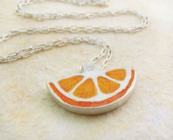 Orange wedge necklace in silver and concrete
