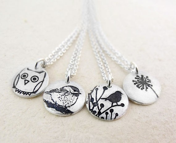 Bridesmaids necklaces - silver - Set of 4 your choice of design