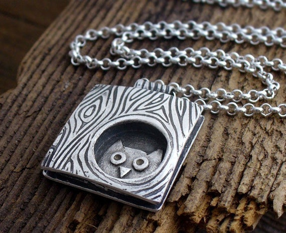 Whimsical  owl in a tree necklace