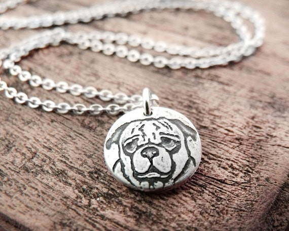 Tiny Pug necklace, silver pug jewelry